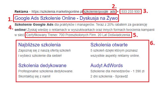 Linki sponsorowane napodstawie Google Ads